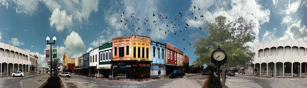 Bryan Art Print featuring the digital art Downtown Bryan Texas 360 Panorama by Nikki Marie Smith