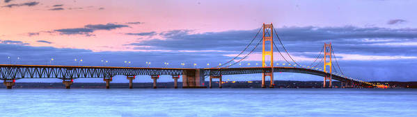 Mackinac Art Print featuring the photograph Mackinac Bridge In Evening by Twenty Two North Photography