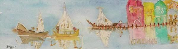 Ocean Pier Art Print featuring the painting Ellie's Cafe by Ellie Sorkin