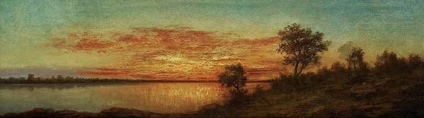 August MalmstrÖm Art Print featuring the painting Landscape With Trees At The Rivers by MotionAge Designs