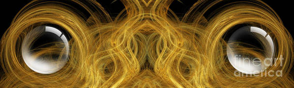 Abstract Art Print featuring the digital art Precious Metal Frog Prince Panorama by Andee Design
