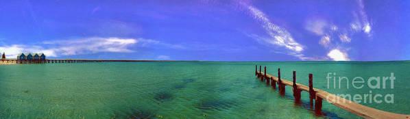Western Australia; Beach Perth Panorama; Margaret River; Southern Hemisphere; Longest Wooden Jetty Art Print featuring the photograph Western Australia Busselton Jetty by David Zanzinger
