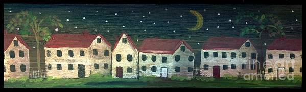 Primitive Houses Art Print featuring the painting Prim Houses All In A Row by Sylvia Pimental