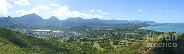 Blue Art Print featuring the photograph Windward Oahu Panorama I by David Cornwell/First Light Pictures, Inc - Printscapes