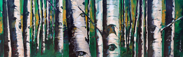 Nature Art Print featuring the painting Aspen Glade At Dusk by Ron Patterson