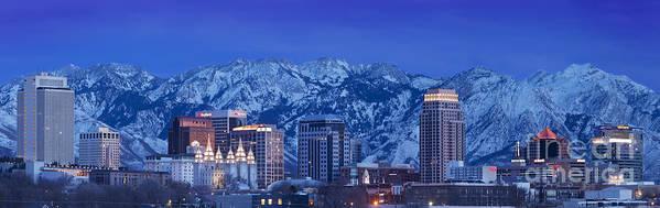 America Print featuring the photograph Salt Lake City Skyline by Brian Jannsen