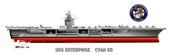 Uss Enterprise Cvn 65 1969 Drawing Art Print featuring the digital art Uss Enterprise Cvn 65 1969 by George Bieda