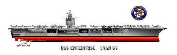 Uss Enterprise Cvn 65 1971-73 Drawing Art Print featuring the digital art Uss Enterprise Cvn 65 1971-73 by George Bieda