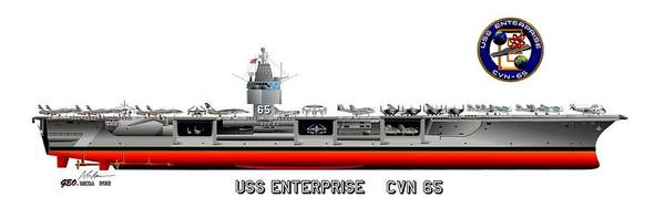 Uss Enterprise Cvn 65 1975-81 Drawing Art Print featuring the digital art Uss Enterprise Cvn 65 1975- 1981 by George Bieda