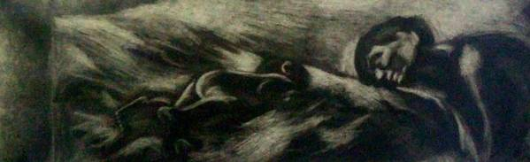 Charcoal Art Print featuring the drawing Mutual Admiration by Olga Klinger