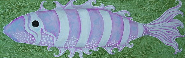 Fantasy Fish Art Print featuring the painting Pink And White Stylized Fantasy Fish by Teresa Grace Mock