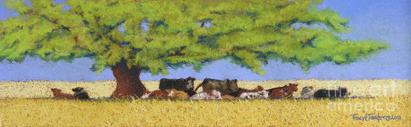 Cows Art Print featuring the pastel 100 Degrees Plus by Tracy L Teeter