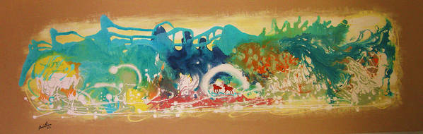 Contemporary Art Print featuring the painting Le Plaisir De Jouer by Annie Rioux