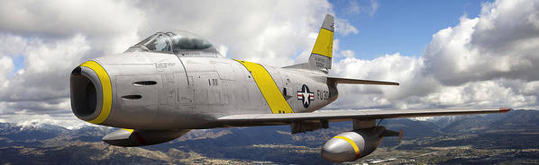 F-86 Sabre Art Print featuring the photograph North American F-86 Sabre by Larry McManus