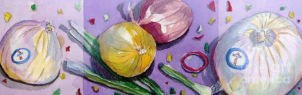 Still Life Art Print featuring the painting Onions by Jan Bennicoff
