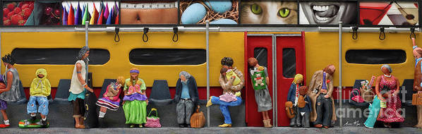 Subway Print featuring the mixed media Subway - Lonely Travellers by Anne Klar