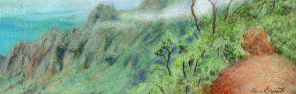 Rainbow Colors Pastel Art Print featuring the painting Trail's End by Kenneth Grzesik
