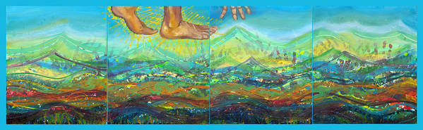 Christianity Art Print featuring the painting Walking On Water by Anne Cameron Cutri
