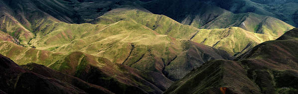 Altitude Art Print featuring the photograph Textured Hills Panoramic by Leland D Howard