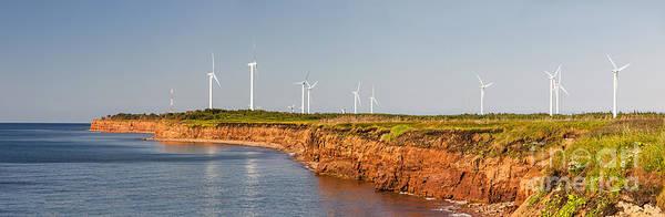 Windmills Art Print featuring the photograph Wind Turbines On Atlantic Coast by Elena Elisseeva