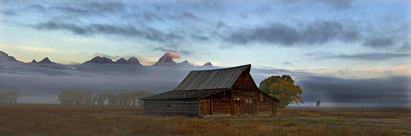 Morning Art Print featuring the photograph Morning At The South Moulton Barn Grand Tetons by Gary Langley