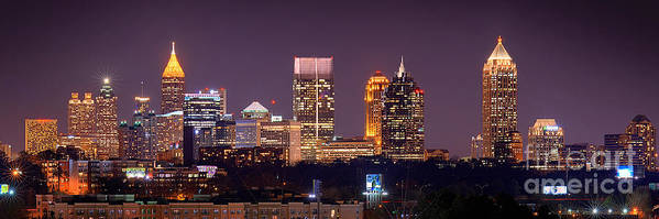 Atlanta Art Print featuring the photograph Atlanta Skyline At Night Downtown Midtown Color Panorama by Jon Holiday