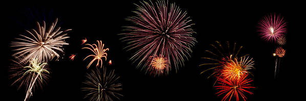 Fireworks Art Print featuring the photograph Fireworks Panorama by Bill Cannon