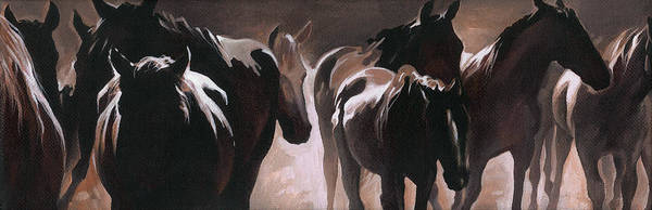 Herd Of Horses Art Print featuring the painting Herd Of Horses by Natasha Denger