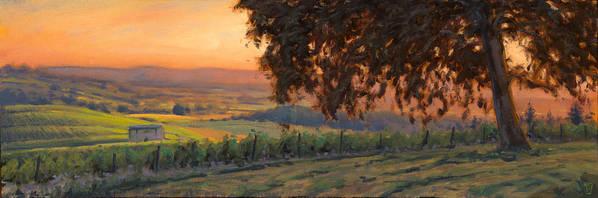 Vineyard Art Print featuring the painting Lenne Vineyard by Michael Orwick