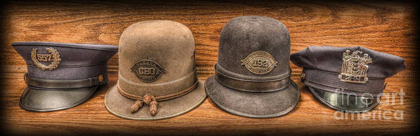 Police Art Print featuring the photograph Police Officer - Vintage Police Hats by Lee Dos Santos