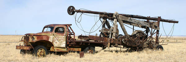 Thank You For Buying A 40.000 X 13.375 Print Of Vintage Water Well Drilling Truck To A Buyer From Ramah Art Print featuring the photograph Vintage Water Well Drilling Truck by Jack Pumphrey