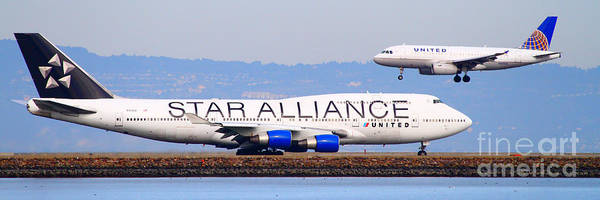 Pano Print featuring the photograph Star Alliance Airlines And United Airlines Jet Airplanes At San Francisco Airport Sfo . Long Cut by Wingsdomain Art and Photography