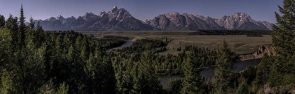 Grand Teton National Park Art Print featuring the photograph Tetons In Midnight Moonlight by Ed Kelley
