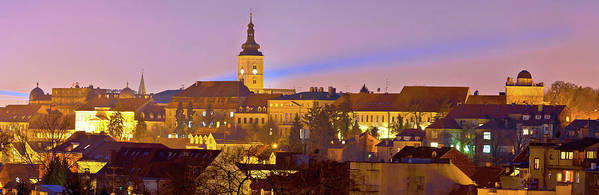 Zagreb Art Print featuring the photograph Zagreb Historic Upper Town Night View by Brch Photography