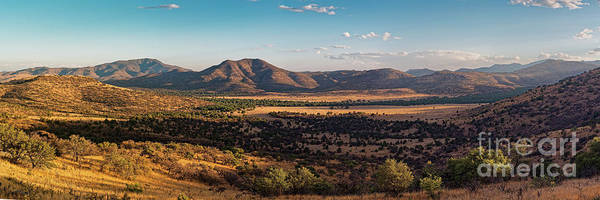 Davis Mountains Art Print featuring the photograph Golden Hour Panorama Of Davis Mountains - Blue And Paradise Mountain And Mount Livermore West Texas by Silvio Ligutti