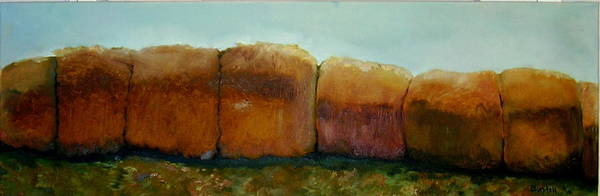 Oil Print featuring the painting Haybales by Judy Blundell