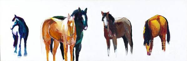 Horses Art Print featuring the painting It's All About The Horses by Frances Marino