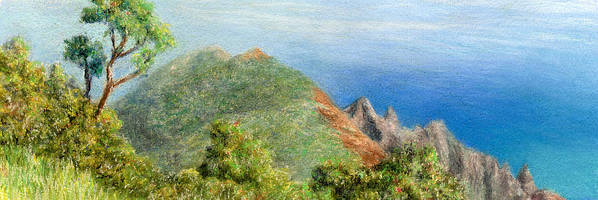 Rainbow Colors Pastel Art Print featuring the painting Kalalau View by Kenneth Grzesik