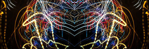 Painted Art Print featuring the photograph Lightpainting Panorama Print Photograph 3 by John Williams