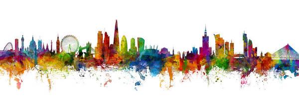 London Art Print featuring the digital art London And Warsaw Skylines Mashup by Michael Tompsett