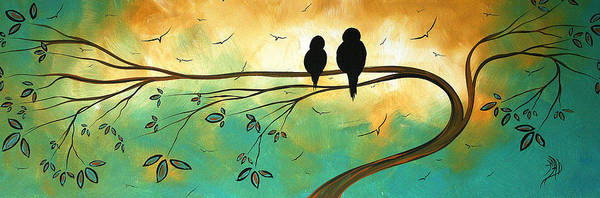 Art Print featuring the painting Love Birds By Madart by Megan Duncanson
