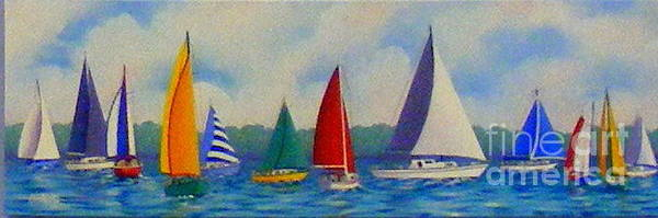 Boats Art Print featuring the painting Sailboat Fiesta II by Hugh Harris