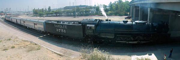 Steam Art Print featuring the photograph Santa Fe No 3751 San Bernardino California Panorama by Brian Lockett