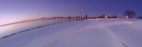 Snow Art Print featuring the photograph Snow And Chicago Skyline Panoramic by Sven Brogren