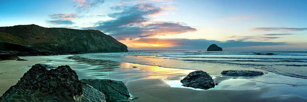 Trebarwith Strand Art Print featuring the photograph Trebarwith Strand Panorama by David Wilkins