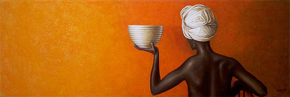 Yellow Art Print featuring the painting Woman Holding A Bowl by Horacio Cardozo