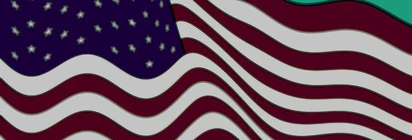 Enhance Enhanced 50 Fifty Star Stars Bar Bars Stripe Stripes Fly Flying Flew Flown 13 Thirteen Abstract Abstractly Memorial Day July 4th 1776 Independence Day Flag Day June 4th Iris Maroon Marooned Red Crimson Burgundy Blue Violet Indigo Grey Gray White Snow Washington Dc The White House Oval Office Air Force One Marine One President Barack Obama Freedom Slavery Slaves Land Of The Free Home Of The Brave Braves Bravery Us Marines Fighting Men These Colors Don't Run Usa Love It Or Leave It Art Print featuring the digital art Abstract 50 Star American Flag Flying Enhanced Cropped X 2 by L Brown