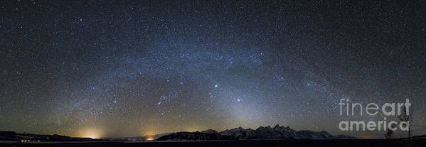Andromeda Art Print featuring the photograph Milky Way Galaxy Over Jackson Hole by Mike Cavaroc