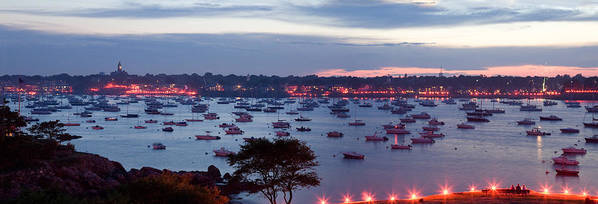 Marblehead Harbor Art Print featuring the photograph Panoramic Of The Marblehead Illumination by Jeff Folger
