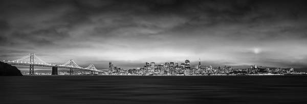 San Fransisco Art Print featuring the photograph San Fransisco Cityscape Black And White Panorama by Brad Scott